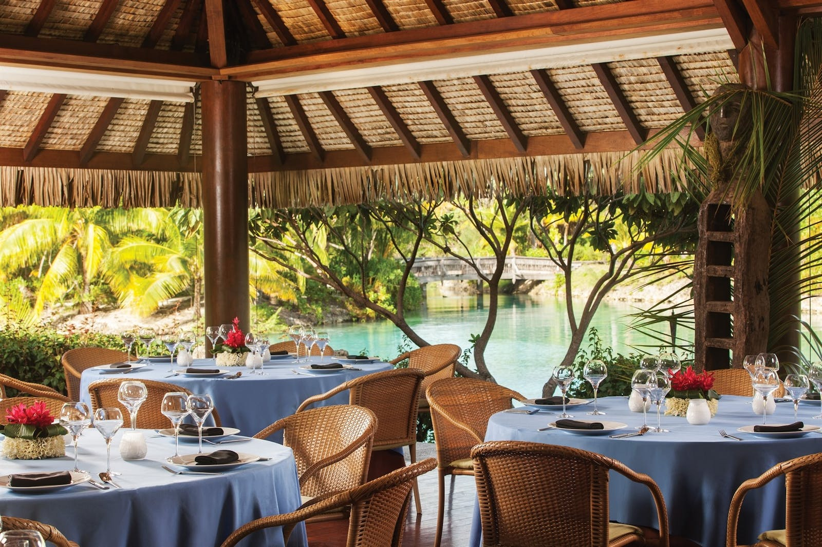 Dining at Four Seasons Bora Bora Resort, French Polynesia