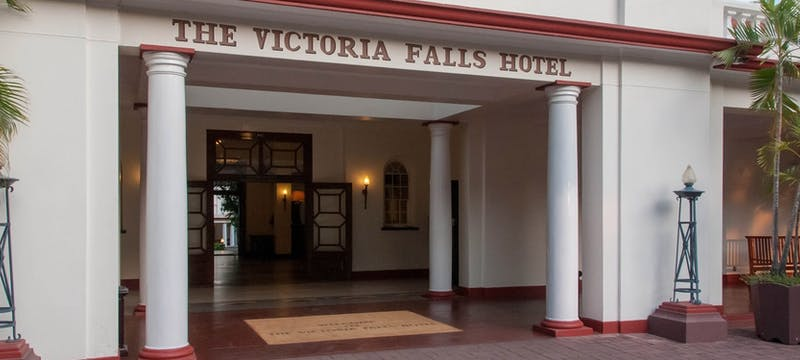 Front entrance of Victoria Falls Hotel, Zimbabwe