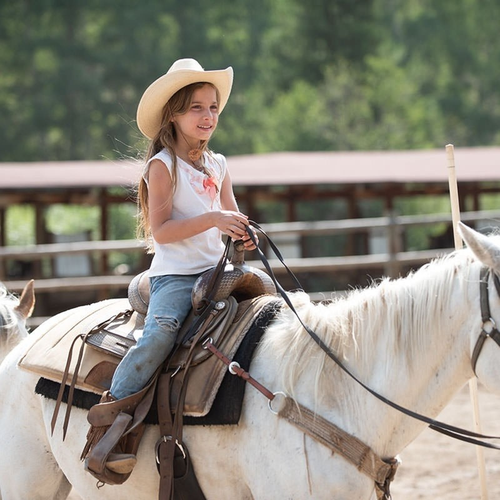 Children Horse Riding at Drowsy Water Ranch, Colorado