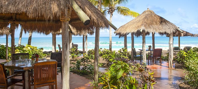 Delectable restaurant alongside the shore line at Galley Bay Resort & Spa, Antigua