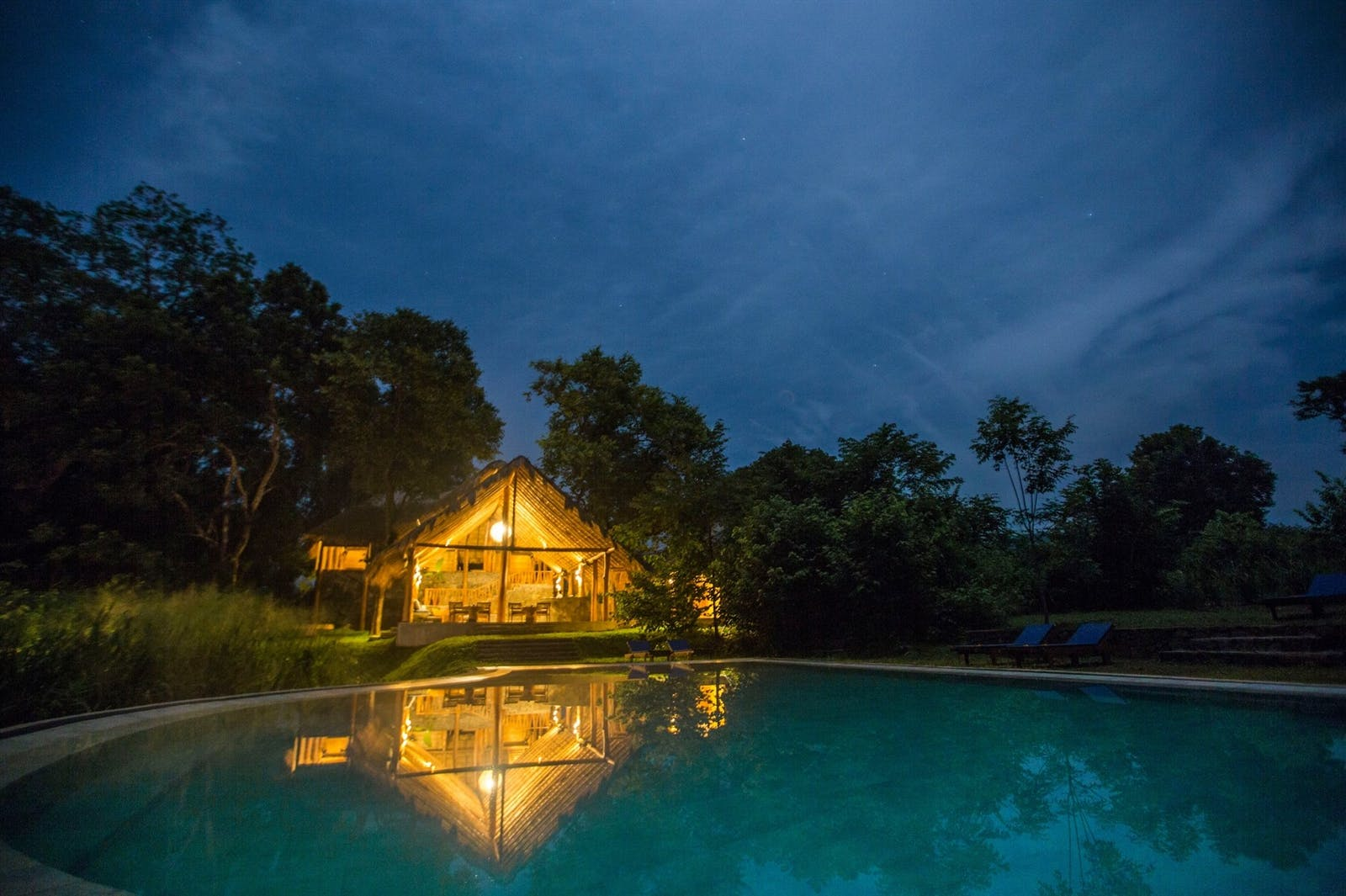 Gal Oya Lodge pool at night
