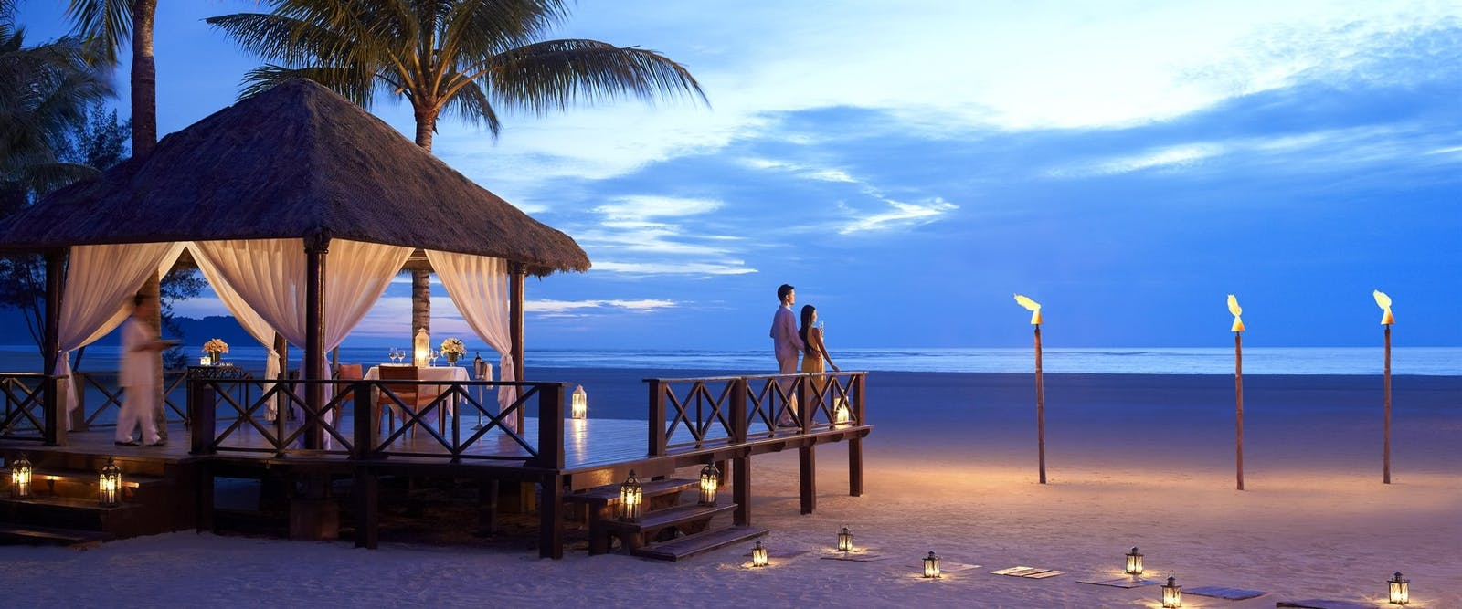 Beach gazebo at night at Shangri La Rasa Ria Resort, Borneo