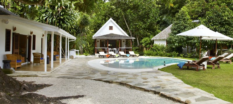Villa pool area at GoldenEye, Jamaica