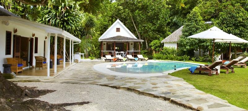 Villa pool area at GoldenEye, Jamaica