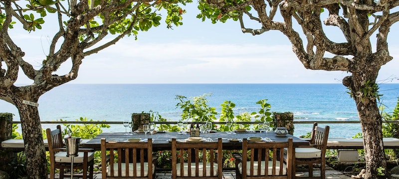 Private dining terrace overlooking the ocean at GoldenEye, Jamaica