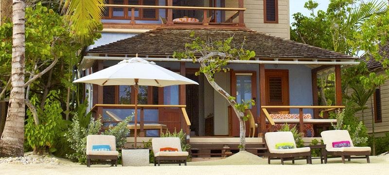 Exterior of beach villa at GoldenEye, Jamaica