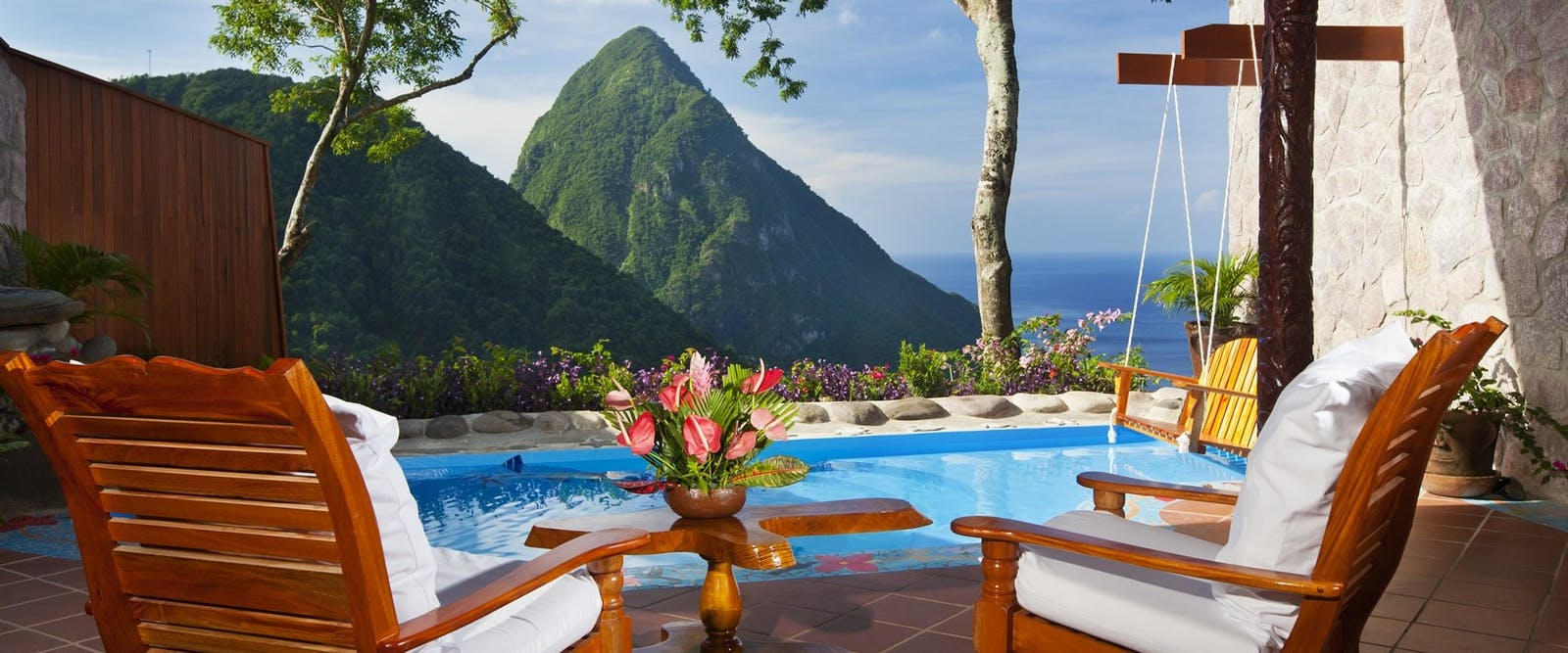 Pool Area in Suite at Ladera, St Lucia