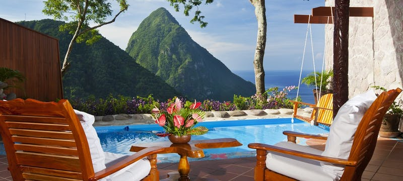 Pool area in Suite Bedroom at Ladera, St Lucia