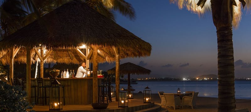 Beach bar sat on the sands of Jumby Bay, A Rosewood Resort, Antigua
