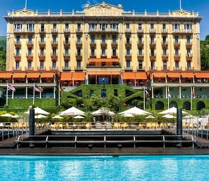 exterior of grand hotel tremezzo italian lakes