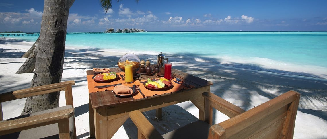 Breakfast by the beach at Gili Lankanfushi, Maldives