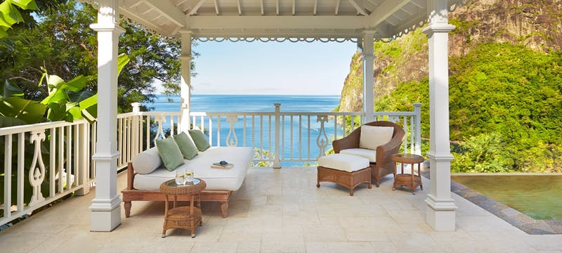 Private terrace in Grand Luxury Villa at The Villas at Sugar Beach, A Viceroy Resort
