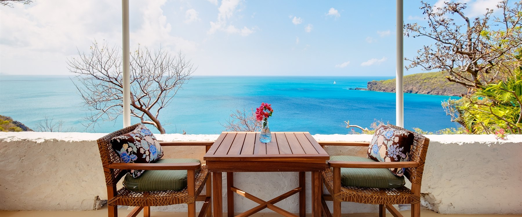 Terrace area of Sea View Room at Guana Island, British Virgin Islands