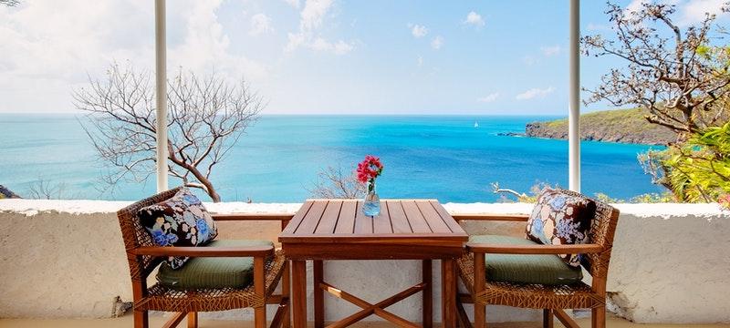 Terrace area of Sea View Room at Guana Island, British Virgin Islands