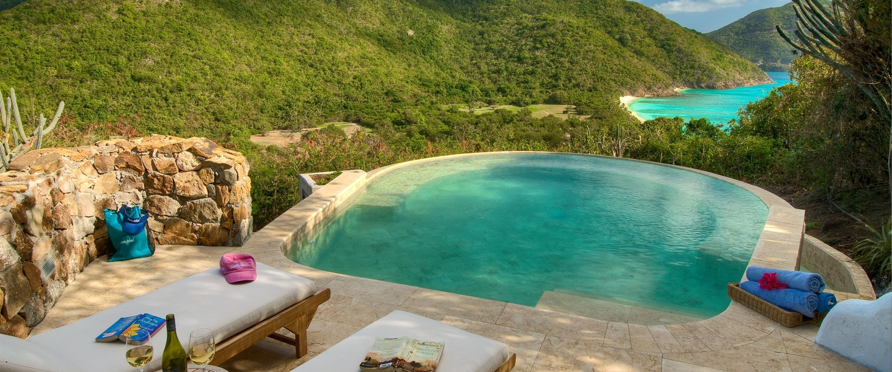 Terrace area in 3 Bedroom Villa at Guana Island, British Virgin Islands