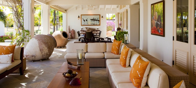 Luxurious lounge area at Jumby Bay Estate Homes, Antigua