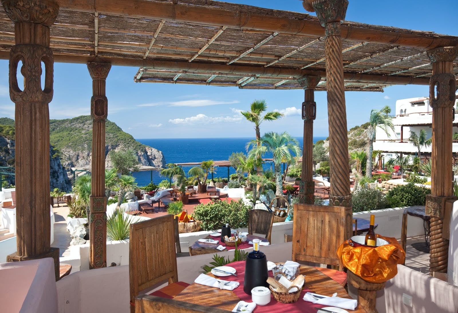 Restaurant Terrace at Hotel Hacienda Na Xamena, Ibiza, Spain