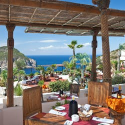 Restaurant terrace at Hotel Hacienda Na Xamena, Ibiza