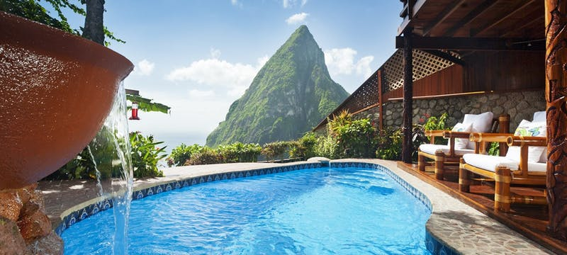 Pool area in Heritage Suite at Ladera, St Lucia