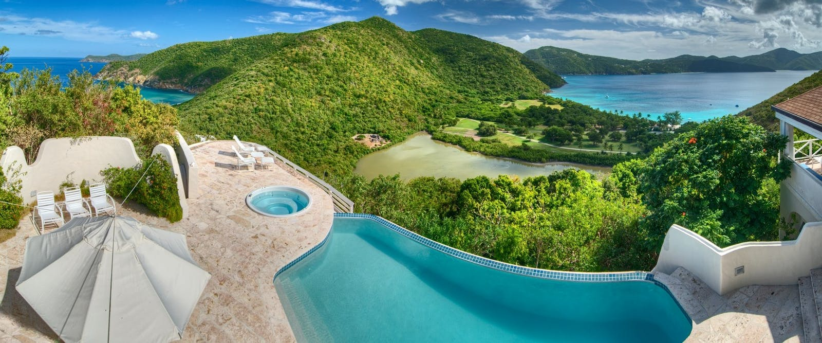 Terrace of Harbour House Villa at Guana Island, British Virgin Islands