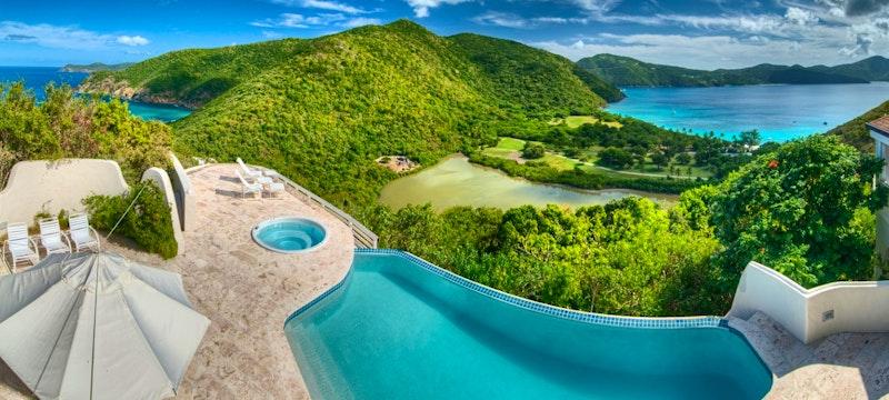 Terrace of Harbour House Villa at Guana Island, British Virgin Islands