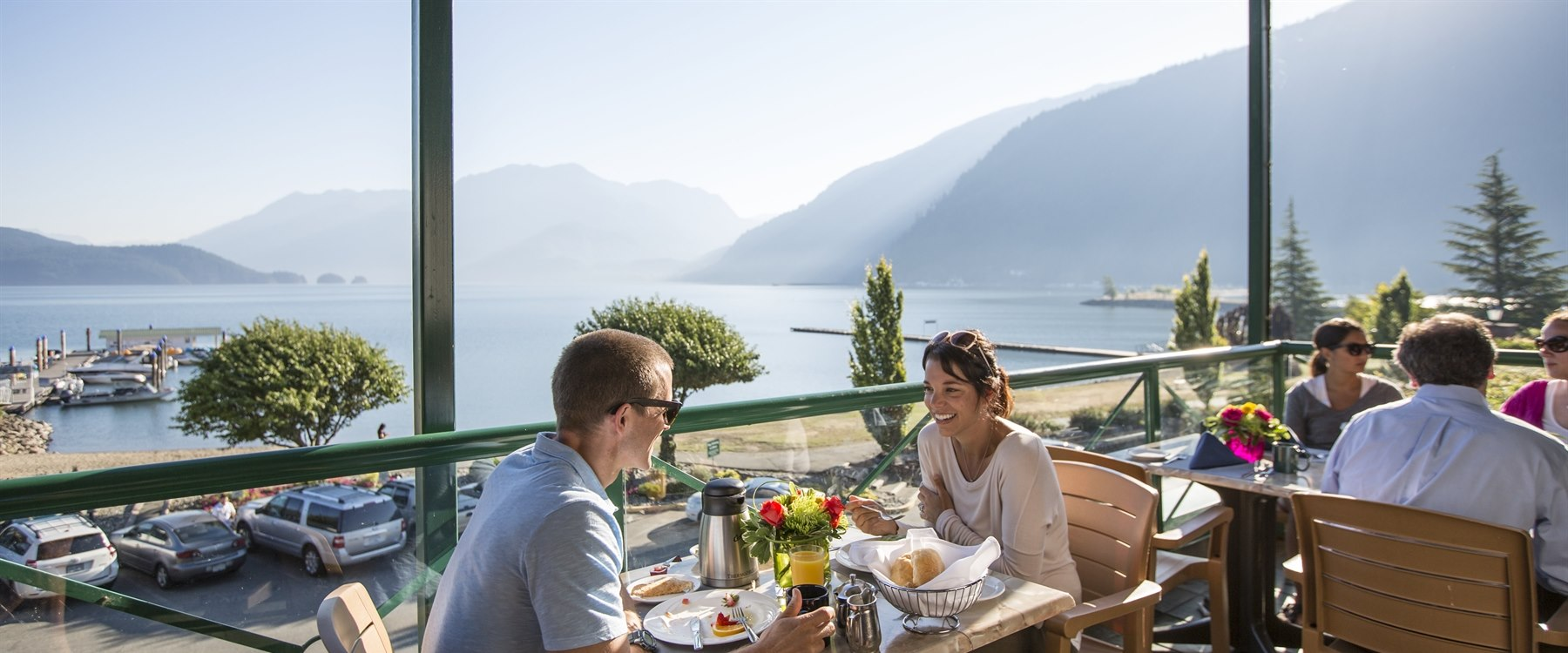 Dining overlooking the lake at Harrison Hot Springs Resort