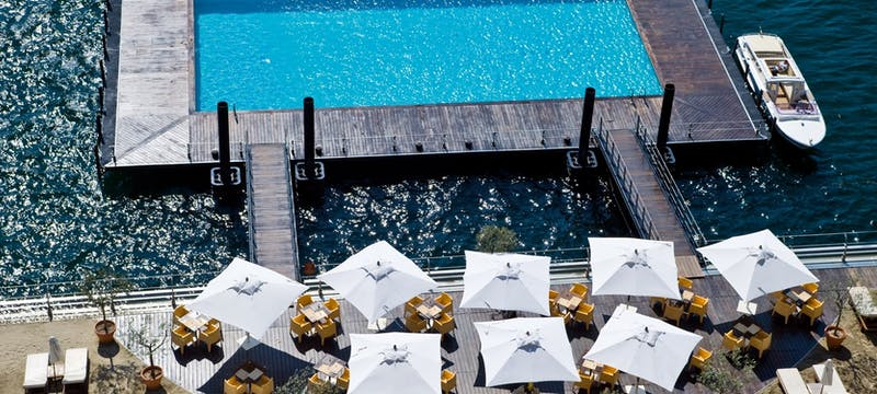 Swimming pool in the sea at Grand Hotel Tremezzo, Lake Como