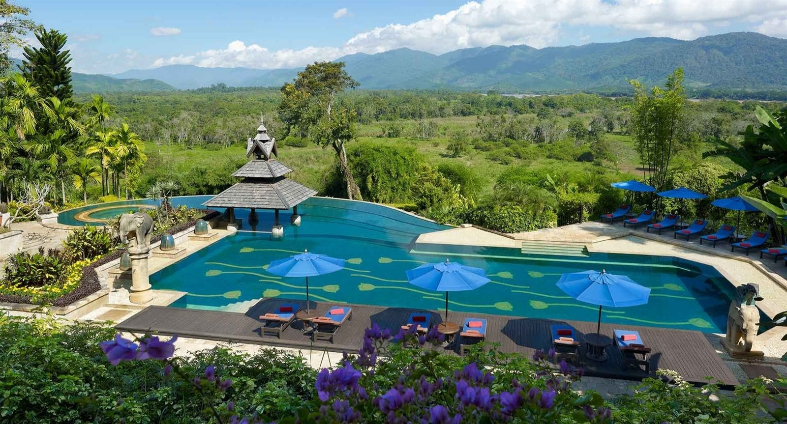 Pool at Anantara Golden Triangle Elephant Camp Resort, Chiang Rai, Thailand, Asia