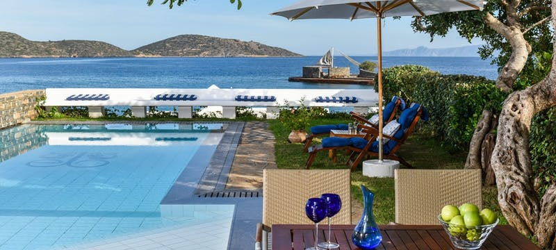 Hideaway Villa Outdoor View with Private Heated Pool at Elounda Beach Hotel & Villas. Crete, Greece