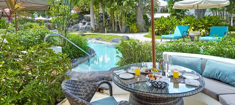 Luxury poolside room patio at Colony Club, Barbados