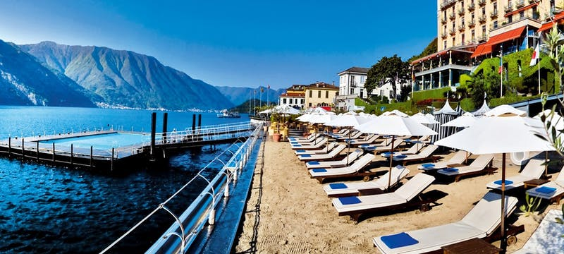 The beach at Grand Hotel Tremezzo, Lake Como