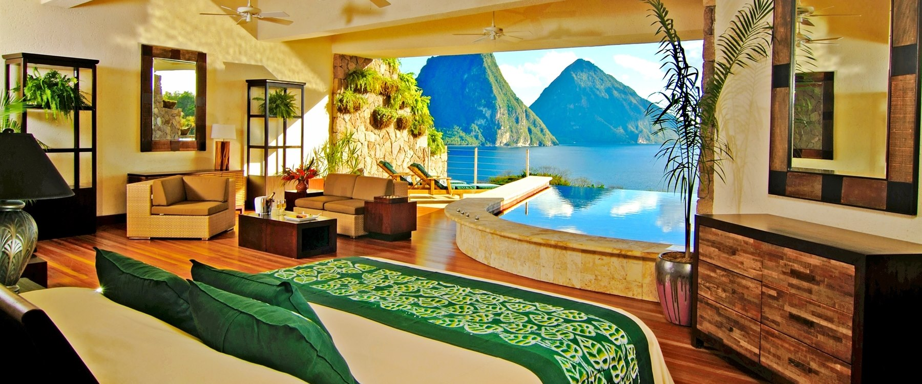 private infinity pool overlooking the ocean at jade mountain st lucia