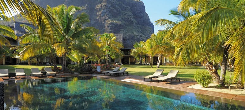 The adult pool area at Dinarobin Beachcomber Golf Resort & Spa, Mauritius