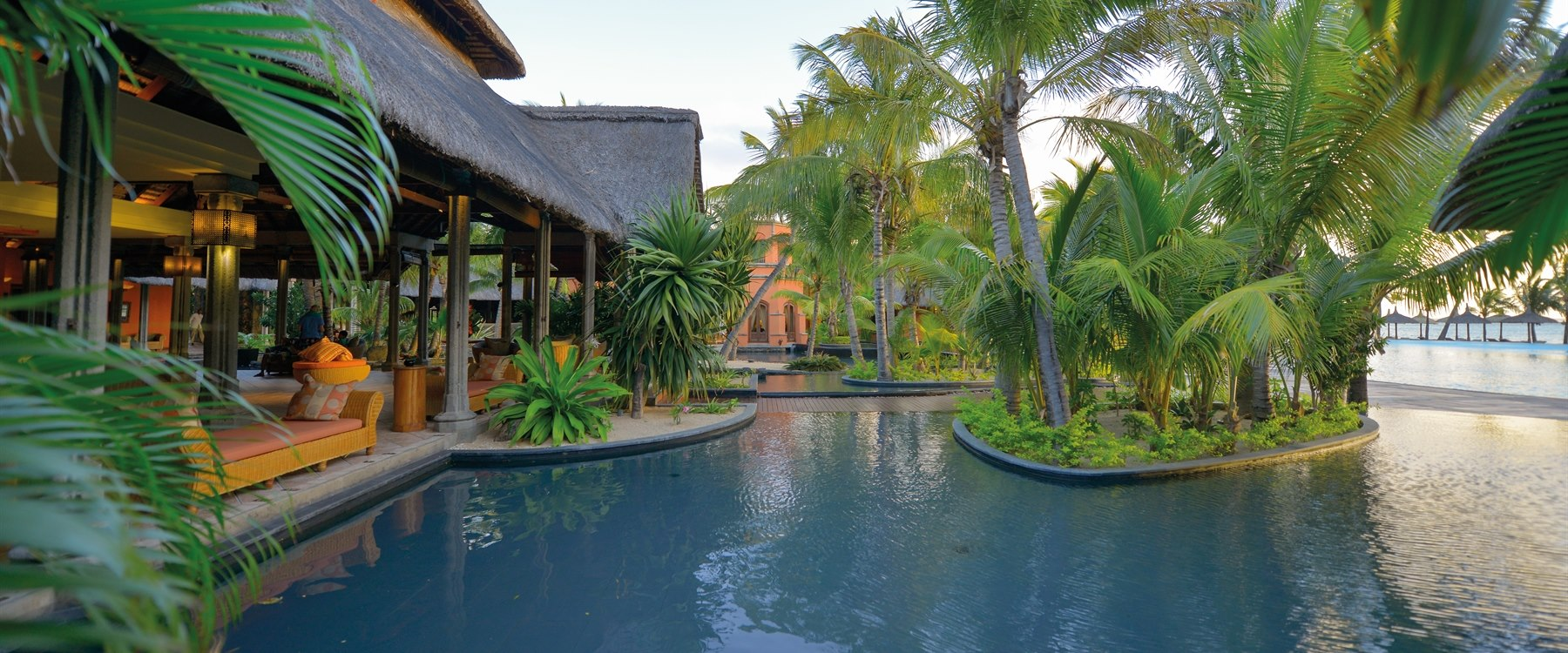 The swimming pool at Dinarobin Beachcomber Golf Resort & Spa, Mauritius