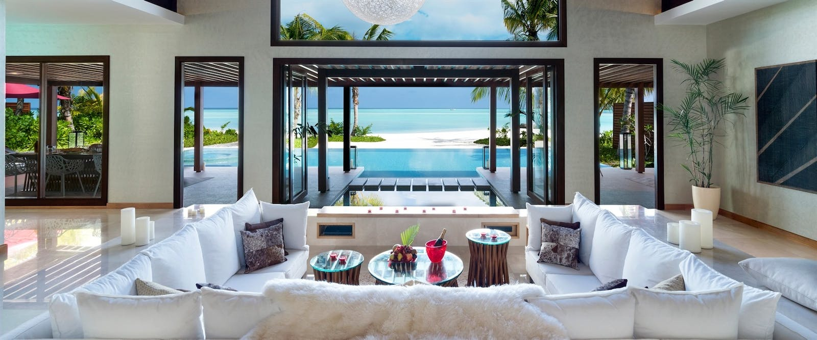 Three Bedroom Family Beach Pavilion Living Room at Niyama Private Islands, Maldives, Indian Ocean