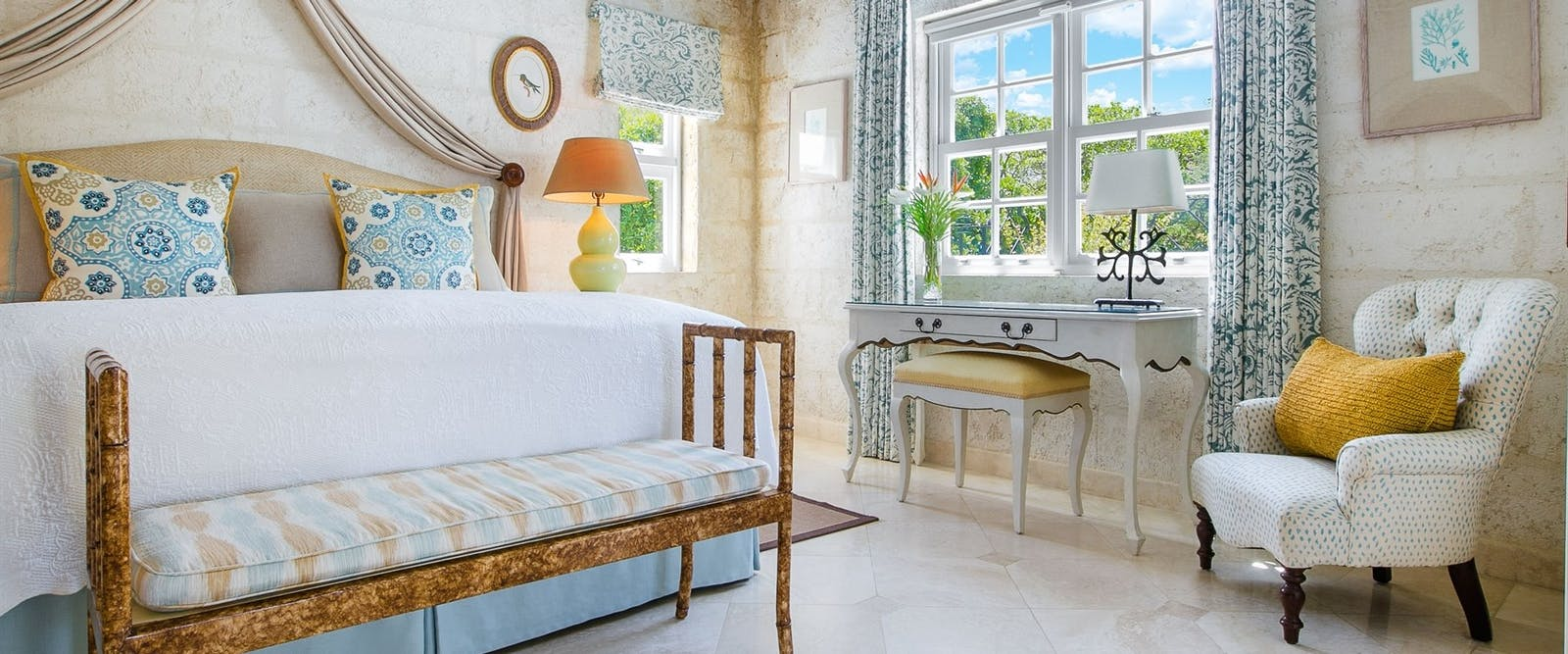 Luxury Plantation Suite Bedroom at Coral Reef Club, Barbados