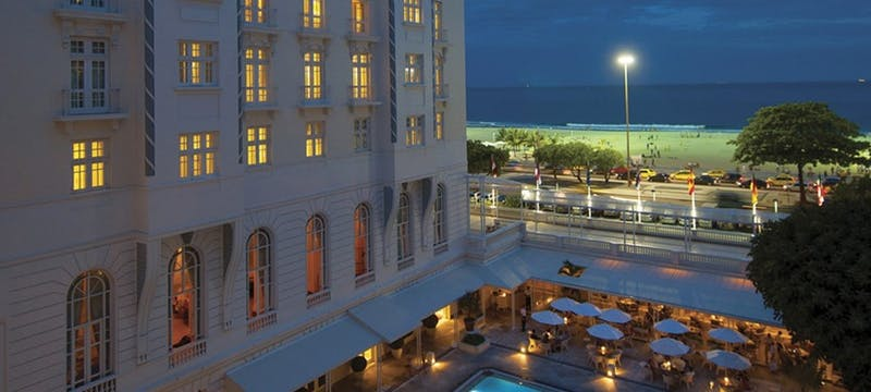 Hotel in the evening at Belmond Copacabana Palace, Brazil