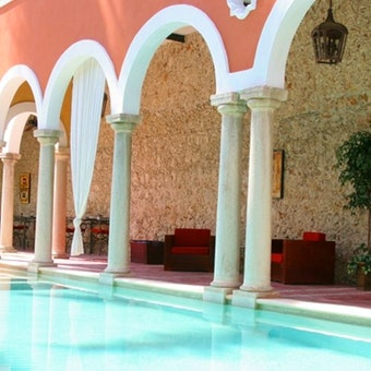 Pool area at Hacienda Merida