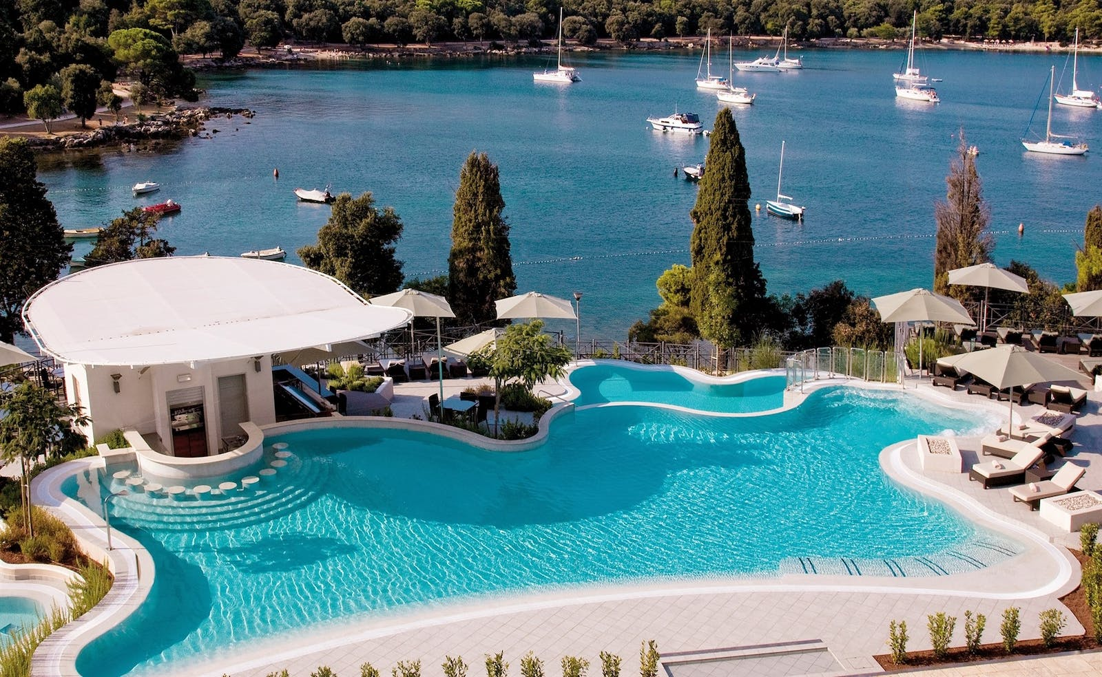 Pool Area with a View at Hotel Monte Mulini, Croatia