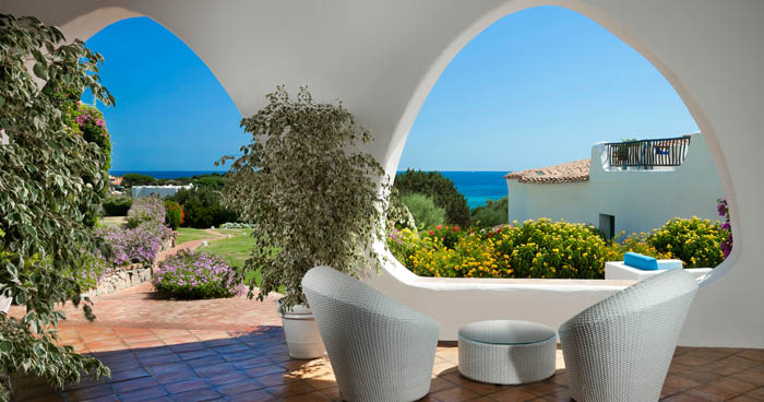 terrace at Hotel Romazzino, Sardinia