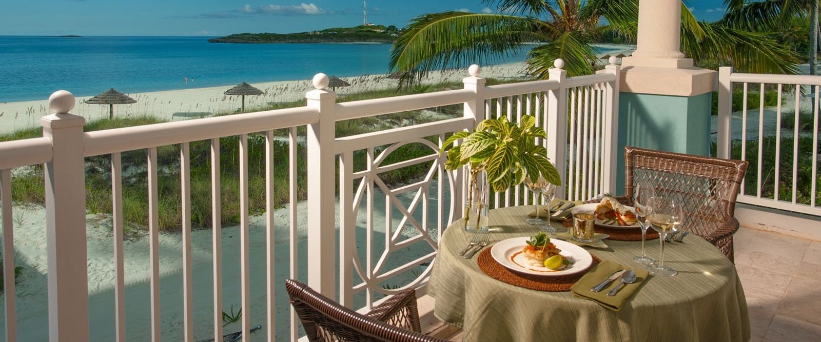 Honeymoon Beachfront Villa Suite Balcony at Sandals Emerald Bay Golf, Tennis & Spa Resort, Bahamas, Caribbean