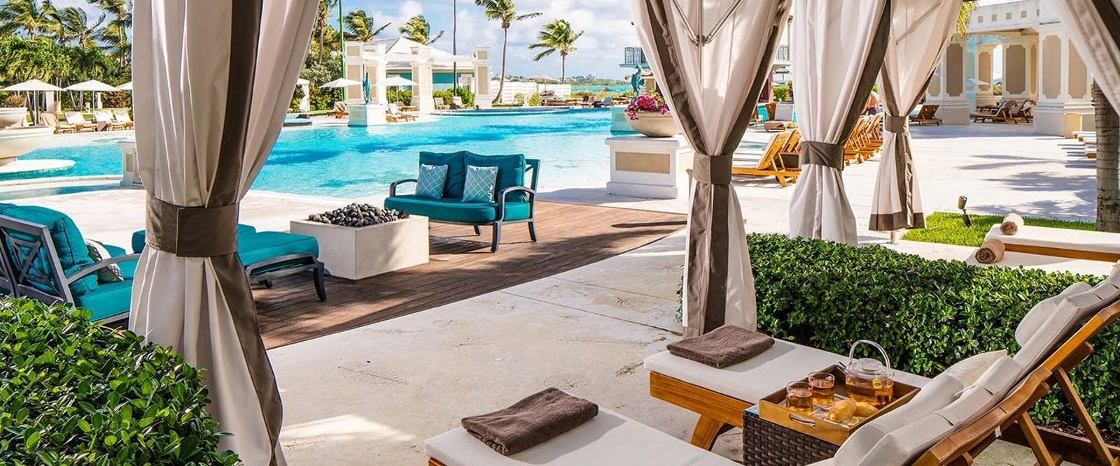 Poolside Cabanas at Sandals Emerald Bay Golf, Tennis & Spa Resort, Bahamas, Caribbean