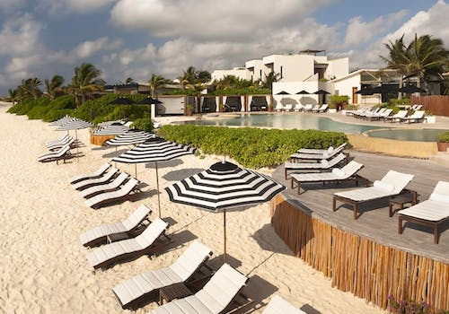 Beach overview at Rosewood Mayakoba, Riviera Maya, Mexico