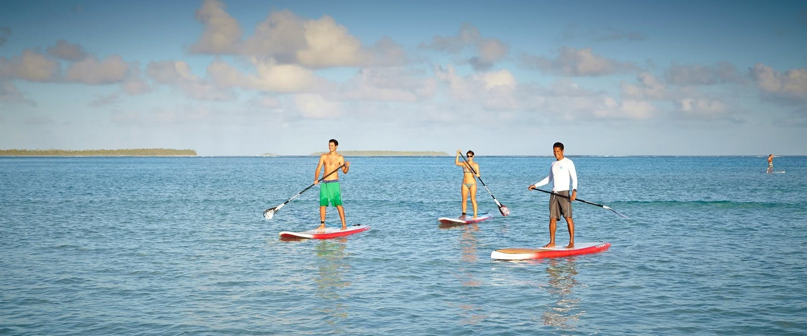 Paddle boarding at The Brando, Tahiti, French Polynesia