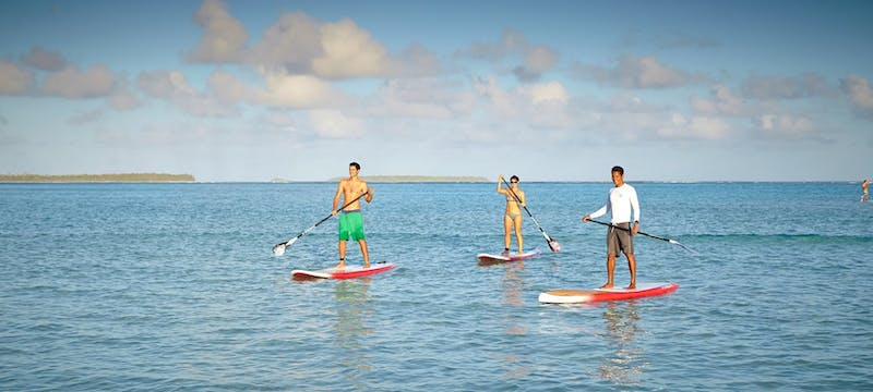 Paddle boarding at The Brando, Tahiti