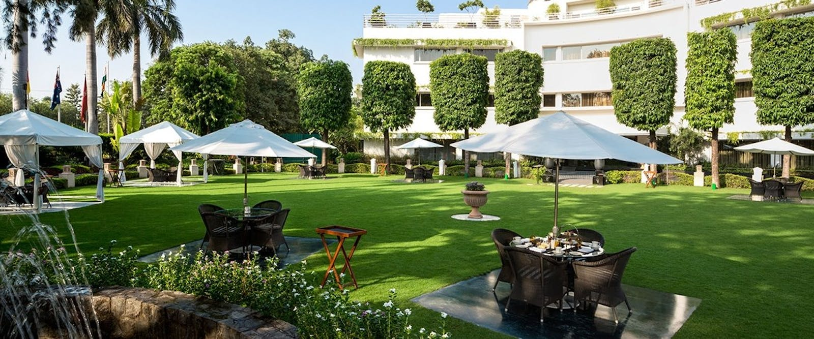 beautiful gardens at The Claridges New Delhi