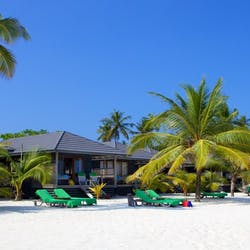 Beachside accommodation at Kuredu Island Resort, Maldives