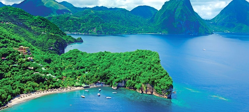 Aerial view of Jade Mountain, St Lucia