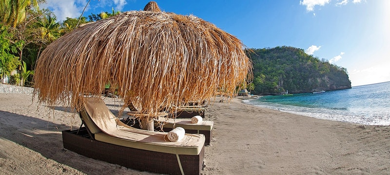 Relax along the beautiful shore line at Jade Mountain, St Lucia