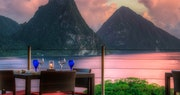 Al fresco dining with a stunning view at Jade Mountain, St Lucia